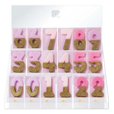 Talking Tables Display with 60 glitter candles pink