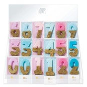 Talking Tables Display with 60 glitter candles pink/blue