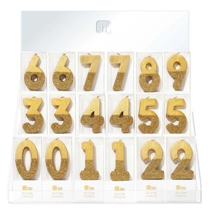 Talking Tables Display with 60 glitter candles gold