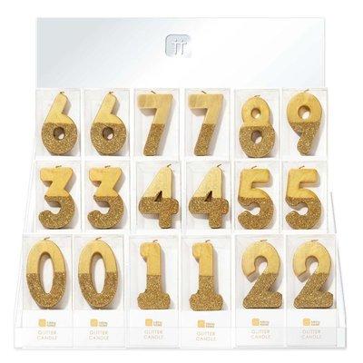 Talking Tables Display mit 60 Glitzerkerzen gold