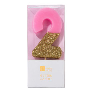 Talking Tables Glitter candle 2 pink