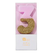 Talking Tables Glitter candle 3 pink