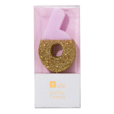 Talking Tables Glitter candle 6 pink