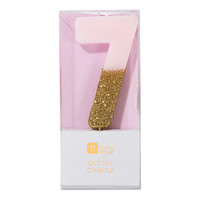 Talking Tables Glitter candle 7 pink