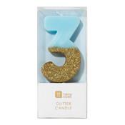Talking Tables Glitter candle 3 blue