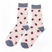 Miss Sparrow Socks Bamboo Ladybirds dusty pink