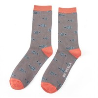 Miss Sparrow Mens Socks Bamboo Little Fish grey