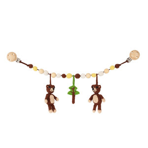 Sindibaba Stroller chain bear brown (organic cotton) with rattle