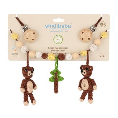 Sindibaba Kinderwagenkette Bear braun (Bio-Baumwolle) mit Rassel