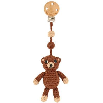 Sindibaba Pram clip / rattle with Bear brown (organic cotton)