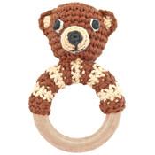 Sindibaba Rassel Holzring Bear brown (Bio-Baumwolle)