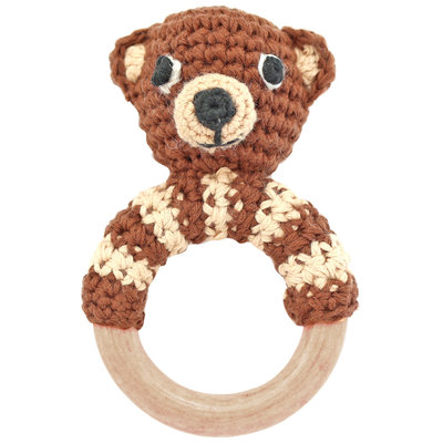 Sindibaba Rattle wooden ring Bear brown (organic cotton)