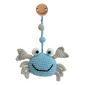 Sindibaba Baby Carriage Clip with rattle Crab blue/grey