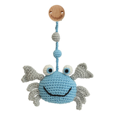 Sindibaba Pram Clip with rattle Crab blue/grey