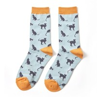 Miss Sparrow Socks Bamboo Cats duck egg