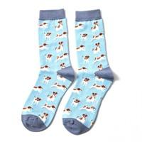 Miss Sparrow Socks Bamboo Jack Russells powder blue