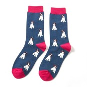 Miss Sparrow Socks BambooF ox Terrier navy