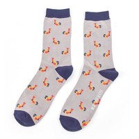 Miss Sparrow Mens Socks Bamboo Roosters grey