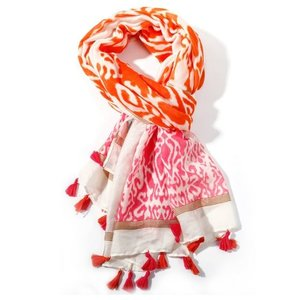 M&K Collection Scarf Tassel Ikat orange