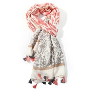 M&K Collection Scarf Tassel Ikat pink