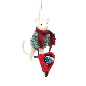 Sass & Belle Weihnachtshänger Mouse with Wheelbarrow