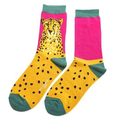 Miss Sparrow Socken Bamboo Wild Cheetah hot pink