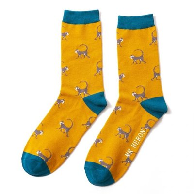 Miss Sparrow Männer-Socken Bamboo Monkeys mustard