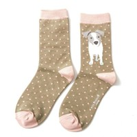 Miss Sparrow Socks Bamboo Jack Russel Pup olive