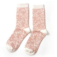 Miss Sparrow Socks Bamboo Trailing Leaves dusky pink