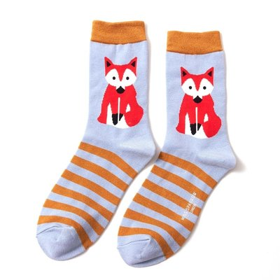 Miss Sparrow Socken Bamboo Fox & Stripes powder blue