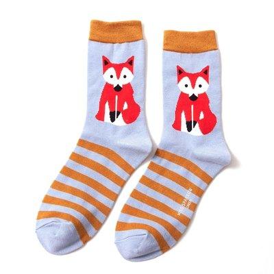 Miss Sparrow Socks Bamboo Fox & Stripes powder blue