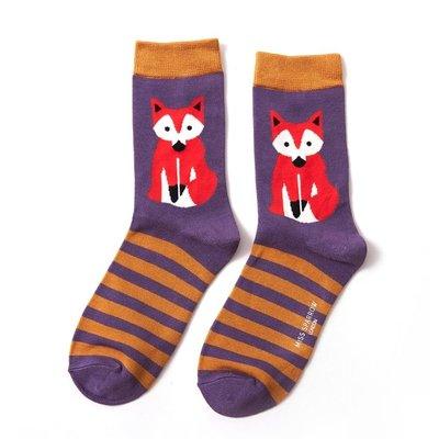 Miss Sparrow Socken Bamboo Fox & Stripes purple