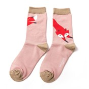 Miss Sparrow Socks Bamboo Leaping Fox dusky pink