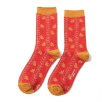 Miss Sparrow Socks Bamboo Vines orange