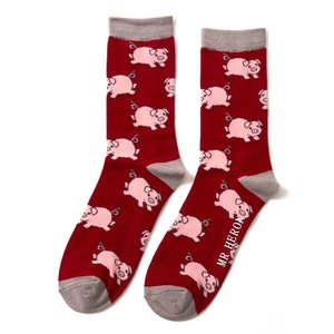 Miss Sparrow Mens Socks Bamboo Piglets red