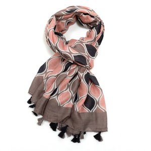 M&K Collection Scarf Tassel  Flames grey