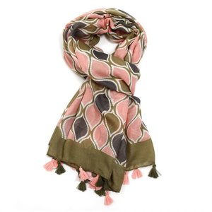 M&K Collection Scarf Tassel  Flames green