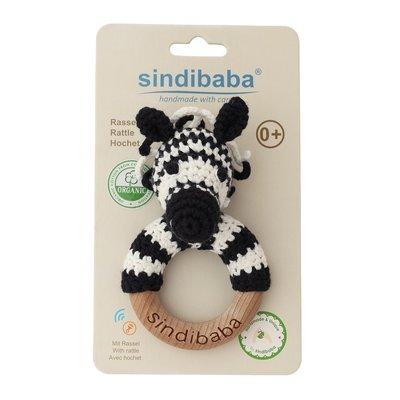 Sindibaba Rassel Holzring Zebra (Bio-Baumwolle)