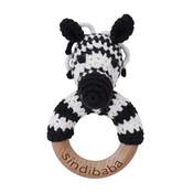 Sindibaba Rattle wooden ring Zebra (organic cotton)