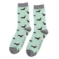 Miss Sparrow Männer-Socken Bamboo Little Sausage Dogs mint