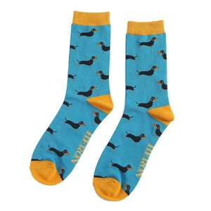 Miss Sparrow Mens Socks Bamboo Little Sausage Dogs teal