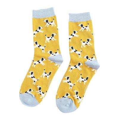 Miss Sparrow Socks Bamboo Dalmatians yellow