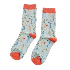 Miss Sparrow Socks Bamboo Wild Flowers duck egg