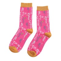Miss Sparrow Socks Bamboo Wild Flowers hot pink