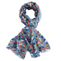M&K Collection Scarve  Leaves navy