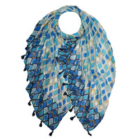 M&K Collection Scarf Tassel  Istanbul blue