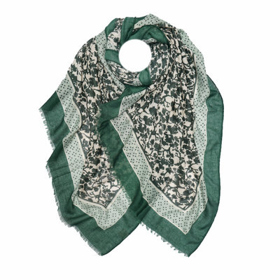 M&K Collection Scarf Leaves Shadow green