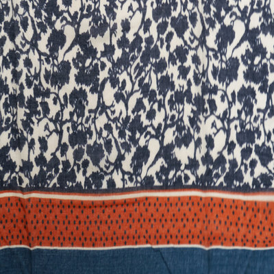 M&K Collection Scarf Leaves Shadow blue
