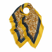 M&K Collection Scarf Leaves Shadow mustard