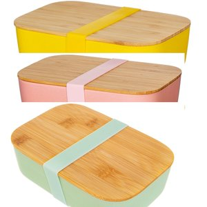 Sass & Belle Lunch Box Bamboo green/mustard/pink